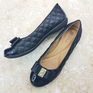White Mountain Motel Quilted Black Ballet Flats